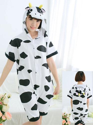 1514e4c3a0 Kigurumi Pajamas Cow Onesie Snuggie White Short Sleeve Cotton Animal  Sleepwear Halloween (usa40076143) photo