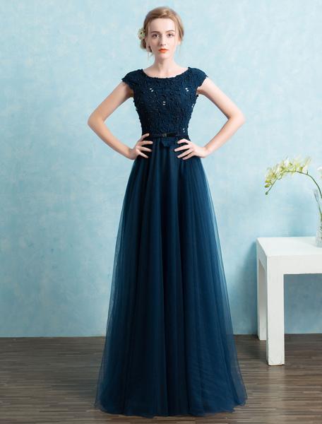Elegantes Abendkleid aus mit Rundkragen Cutouts und Perlen-Applikation bodenlang in Dunkelblau