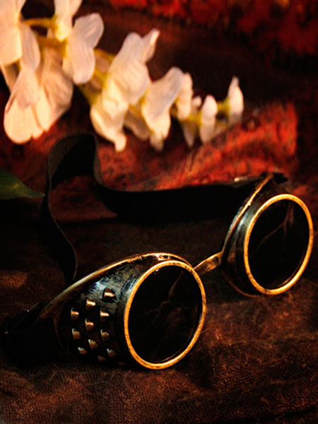 Image of Steampunk Halloween Goggles Bronze Glasses Vintage Costume Accessories Halloween
