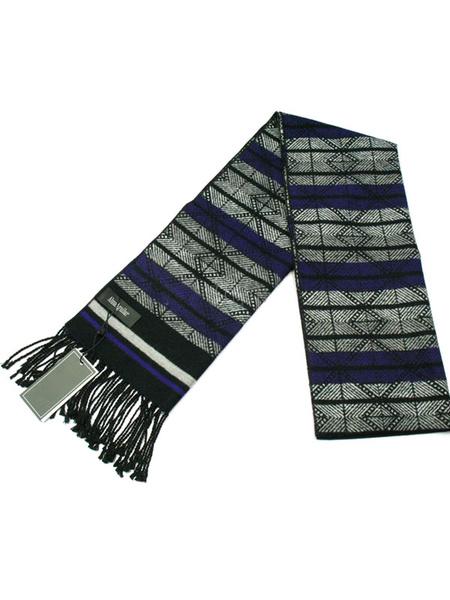 Men's Oblong Scarf Jacquard Wool Blend Scarf With Fringe