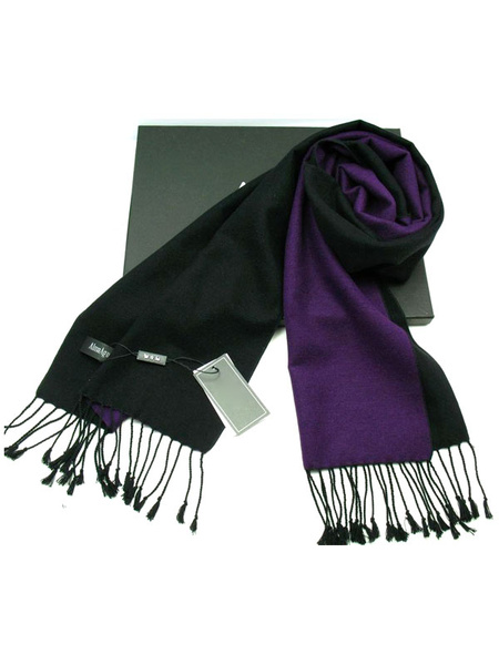 Men's Oblong Scarf Deep Purple Wool Blend Scarf With Fringe