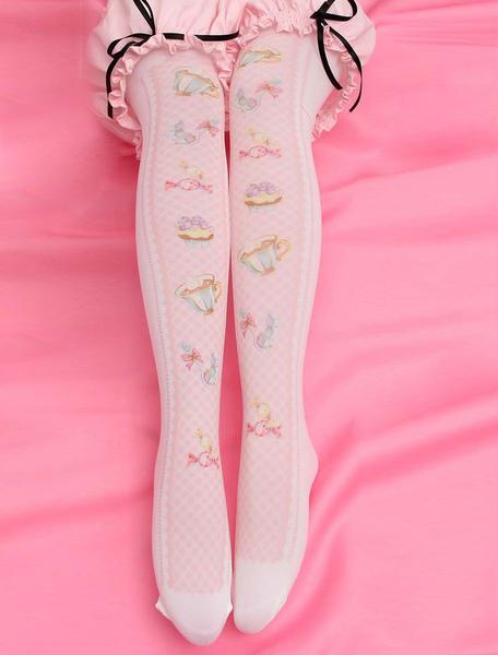 Sweet Lolita Stockings Pink Printed Lolita Knee High Socks