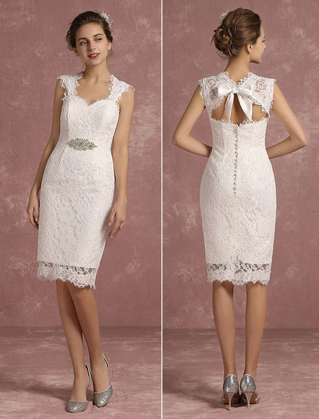 Summer Wedding Dresses 2017 Short Lace Sweetheart Sheath Bridal Gown Queen Anne Neck Sleeveless Bead фото
