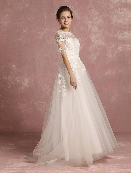 Summer Wedding Dresses 2017 Beach Applique Flower Beaded Bridal Gown Tulle Illusion Round Neck Half
