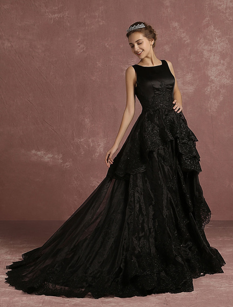 Black Wedding Dress Lace Applique Tiered Bridal Gown A Line Sleeveless Crewneck Bridal Dress With Co