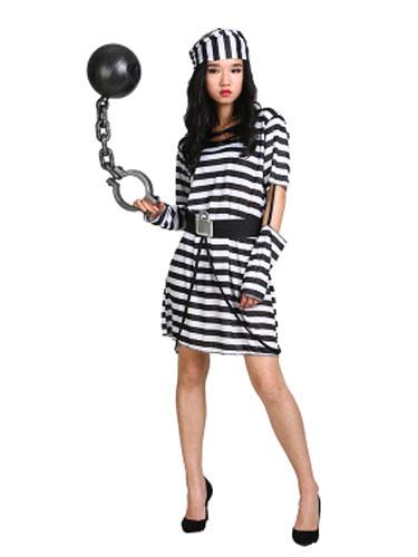 Halloween Prisoner Costume Women's Stripe Convict Costume фото