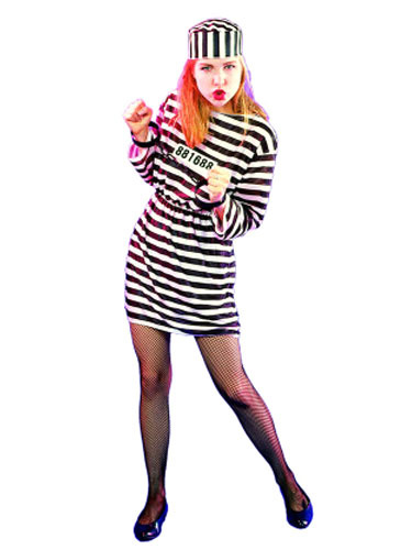 Halloween Prisoner Costume Black And White Striped Dress With Hat Convict Costume