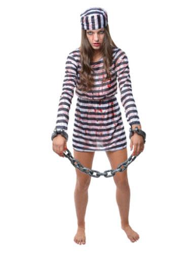 Halloween Zombie Prisoner Costume Black And White Striped Convict Costume For Women