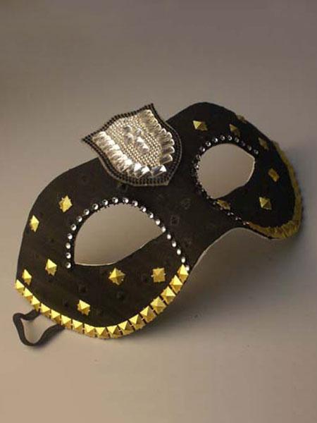 Black Masquerade Mask Costume Halloween Women's Studded Mardi Gras Eye Mask Costume Accessories фото