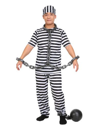 Halloween Prisoner Costume Black And White Striped Convict Costume