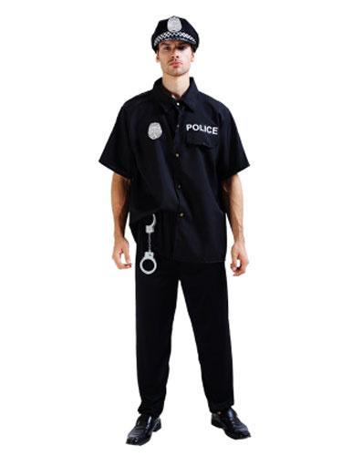 Halloween Cop Costume Black Policeman Costume With Handcuffs фото
