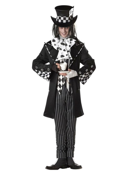 Halloween Alice In Wonderland Costume Men's Mad Hatter Checker Cosplay Costume фото