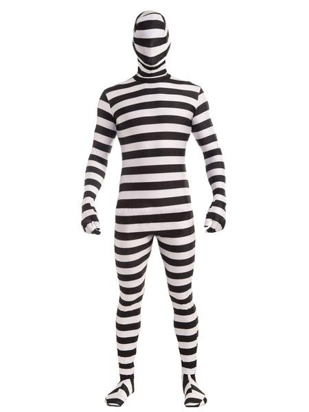 Halloween Prisoner Costume Men's Stripe Convict Catsuit Costume фото