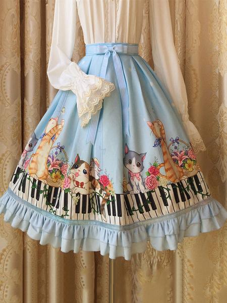 Sweet Lolita Dress SK Blue Lolita Dress Piano Keyboard Cat Print Chiffon Lolita Skirt фото