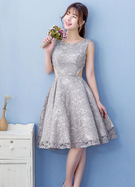 Lace Homecoming Dress Light Grey Cocktail Dress Cutout Beading A Line Knee Length Prom Dress