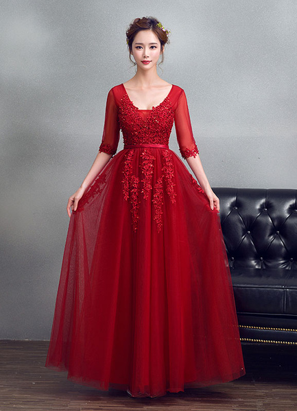 58c5a195f7 Burgundy Evening Dress Tulle V Neck Prom Dress Beading Lace Keyhole Back  Illusion Half Sleeve Maxi G