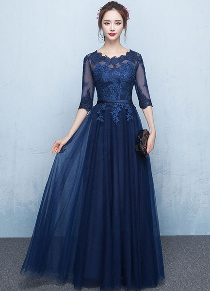 Blue Prom Dress 2017 Long Lace Applique Evening Dress Tulle Dark Navy Sash Floor Length Party Dress