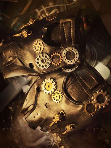 Image of Carnevale Steampunk nero guanti Vintage Unisex ingranaggi guanti senza dita Halloween