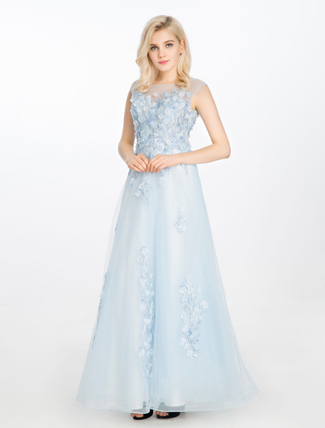 Blue Prom Dress Lace 3D Flowers Applique Party Dress Sweetheart Illusion A Line Crewneck Sleeveless