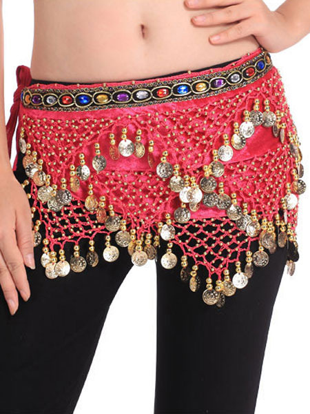 Belly Dance Hip Scarf Red Tiered Tassels Waist Chains Women's Belly Dance Costume Accessories фото