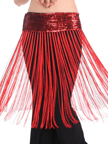 Hip Scarf Belly Dance Costume Red Sequined Bollywood Dance Sash фото