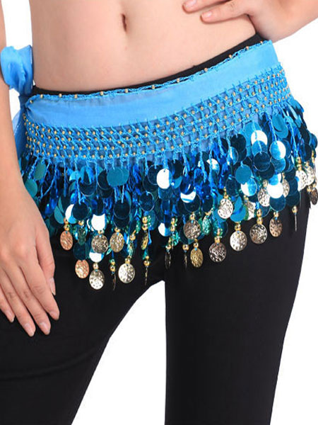 Belly Dancing Hip Scarf Blue Tiered Tassels Waist Chains Women's Belly Dance Costume Accessories, Sky blue;light green;royal blue;white;yellow;black;lilac;rose;ture red;pink;purple;green