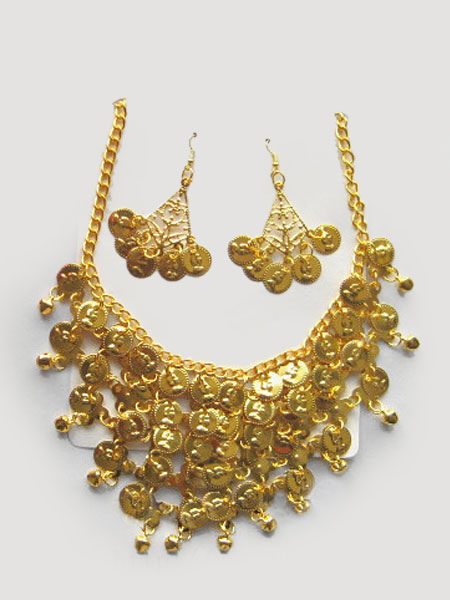 Belly Dance Jewelry Set Costume Gold Plastic Bollywood Dance Necklace Pendent Earrings фото