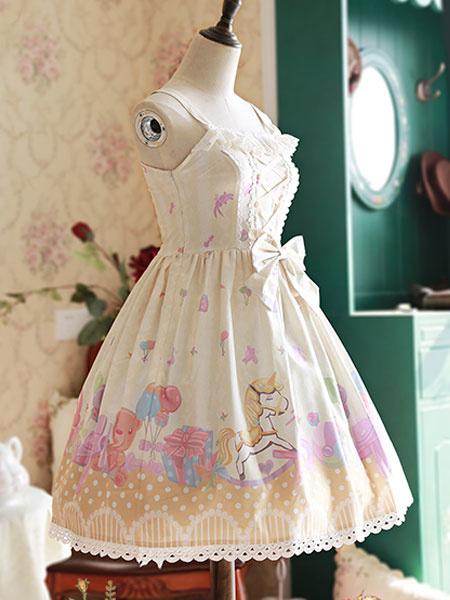 Sweet Lolita Robe JSK abricot Bow imprimé Lolita Jumper Skirt