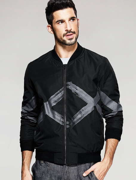 Men's Black Jacket Zipper Diamond Pattern Printed Lightweight Jacket Milanoo