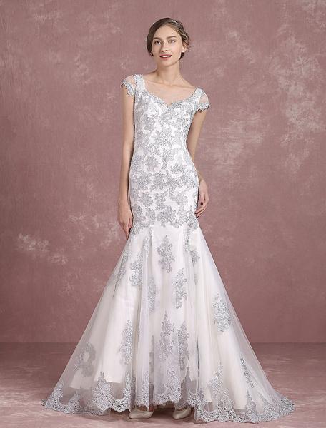 Argento sirena da sposa abito da sposa pizzo Applique abito da sposa pura pulsante indietro senza ma