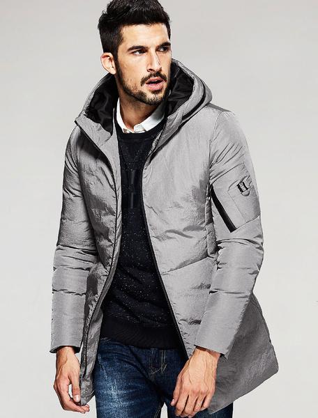 Men's Hooded Jacket Grey Zipper Overhead Winter Puffer Coat фото