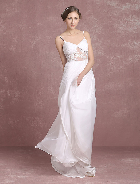 Summer Wedding Dresses 2017 Chiffon Bridal Gown Backless Spaghetti Strap Lace Applique Sleeveless Sw