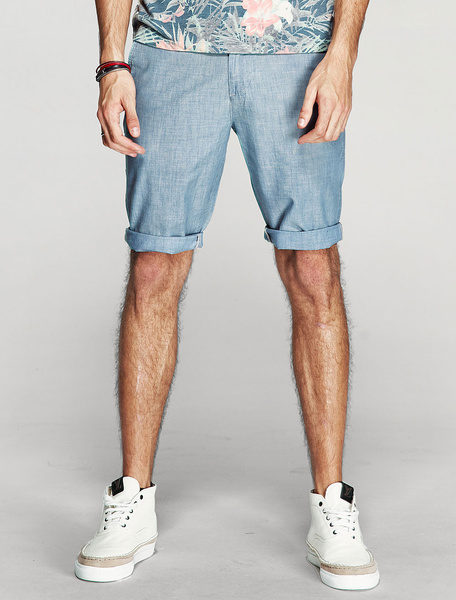 Men's Cotton Shorts Light Blue Skinny Short Pants фото