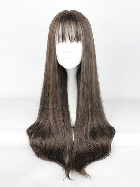 Sweet Lolita Wigs Long Straight Grey Synthetic Lolita Wig With Blunt Fringe фото