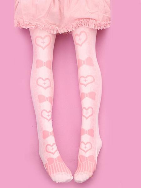 Sweet Lolita Stockings Pink Velvet Heart Bow Printed Lolita Knee High Socks фото