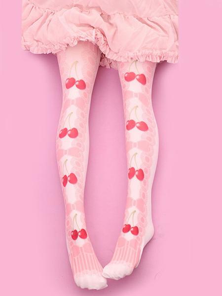 Sweet Lolita Stockings Velvet Pink Cherry Bow Printed Lolita Socks