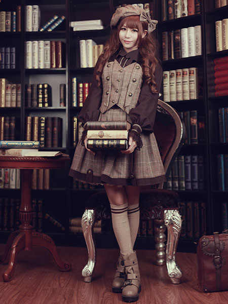 Steampunk Lolita Waistcoat Vintage Triple Breasted Brown Lolita Vest Jacket фото