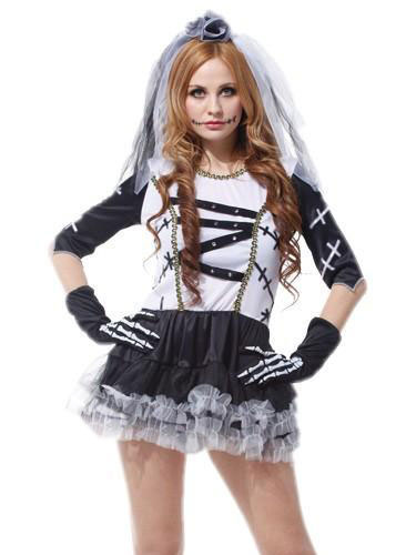Day Of The Dead Costume Halloween Sugar Skull Costume Women's Skeleton Ghost Bridal Mini Dress With