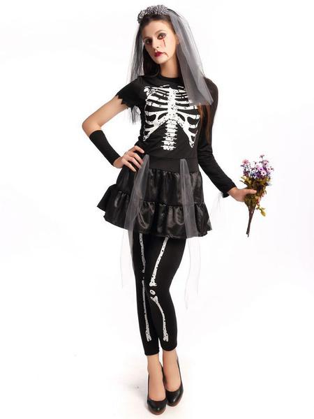 Day Of The Dead Costume Halloween Sugar Skull Costume Women's Black Skeleton Costume In 4 Piece Set