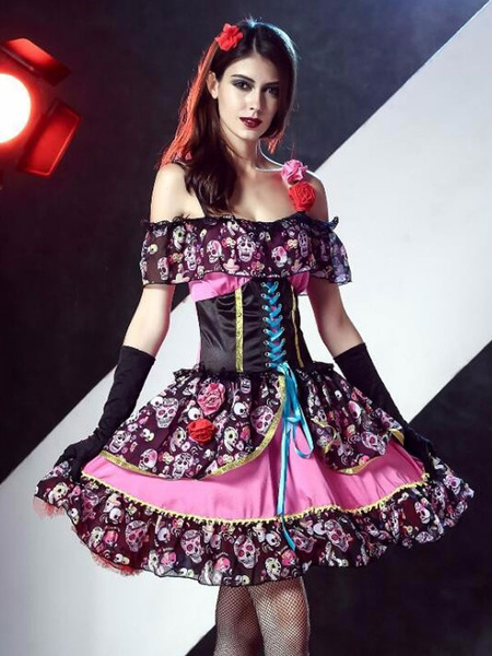 Day Of The Dead Costume Sugar Skull Costume Halloween Women's Floral Skeleton Vampire Bridal Dress O