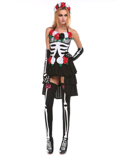 Day Of The Dead Costume Sugar Skull Costume Halloween Women's Flower Skeleton High Low Dress Outfit