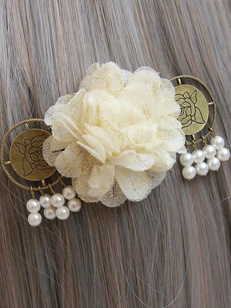 Sweet Lolita Hair Pins White Pearls Flower Detail Lolita Hair Accessories фото