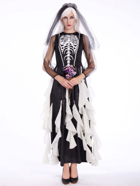 Day Of The Dead Costume Halloween Sugar Skull Costume Women's Skeleton Ghost Bridal Dress With Veil