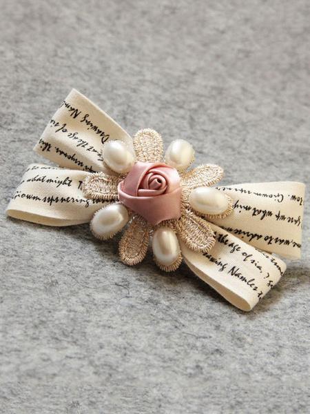 Сладкий Лолита Заколки Для Волос Белый Бант Цветы Бисером Волос Аксессуары Лолита