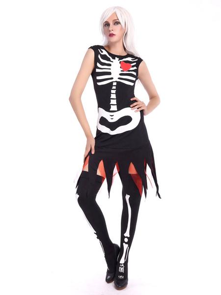 Day Of The Dead Costume Halloween Sugar Skull Costume Women's Black Skeleton Dress With Knee High So