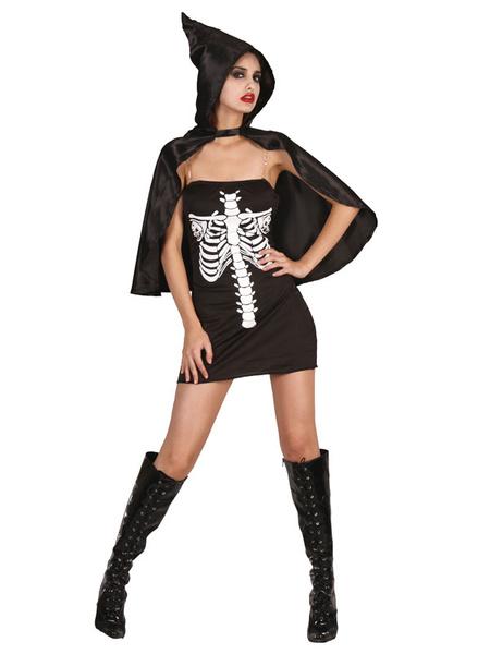 Day Of The Dead Costume Halloween Sugar Skull Costume Black Strapless Sleeveless Skeleton Mini Dress