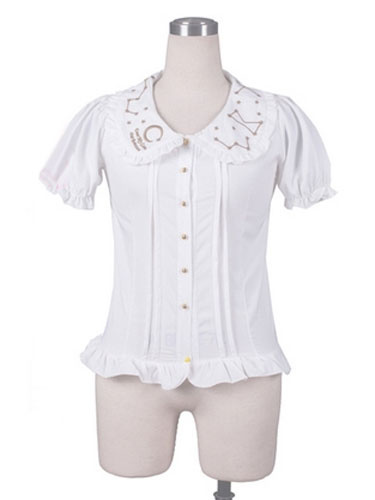 Sweet Lolita Shirts White Chiffon Short Sleeve Ruffle Lolita Blouse Top фото