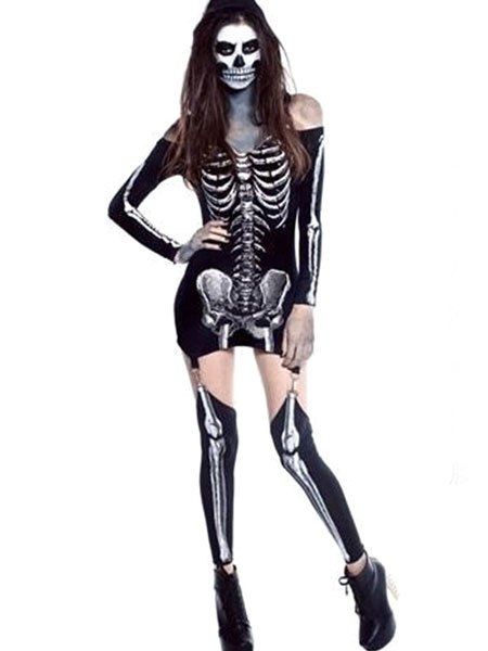 eb756f9a7e4 Day Of The Dead Costume Halloween Sugar Skull Costume Women's Black  Skeleton Sheath Dress Outfit