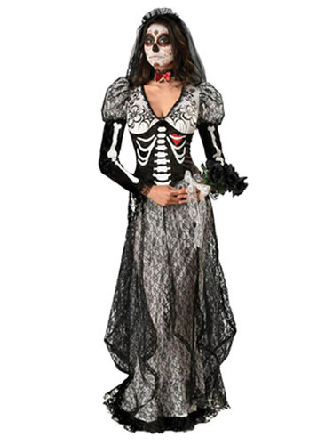 Day Of The Dead Costume Halloween Sugar Skull Costume Lace Black Skull Printed Skeleton Costume In 3
