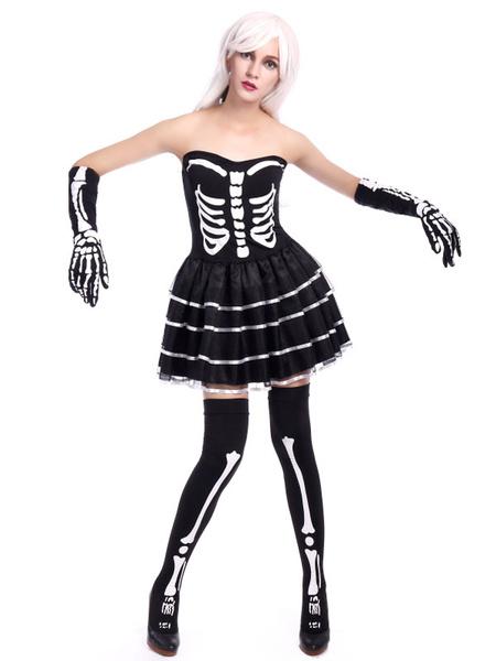 ecdb4164c37 Day Of The Dead Costume Halloween Sugar Skull Costume Women's Black  Strapless Skeleton Skater Dress